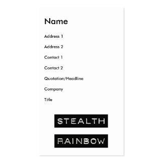 Stealth Rainbow Tag Pack Of Standard Business Cards