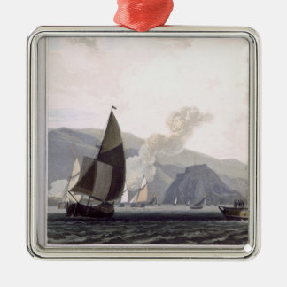 Steam boat on the Clyde near Dumbarton, from 'A Vo Silver-Colored Square Decoration