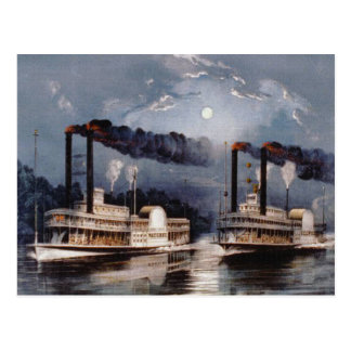 Steam Boat Racing on Mississippi River Postcard