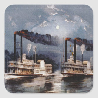 Steam Boat Racing on Mississippi River Square Sticker