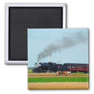 Steam Engine and Amish Farmer Refrigerator Magnets