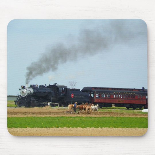 Steam Engine and Amish Farmer Mouse Mat