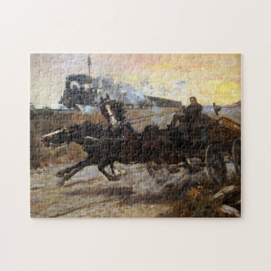 Steam Engine and Team of Horses Jigsaw Puzzle
