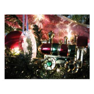 Steam Engine Ornament Christmas Card Postcard