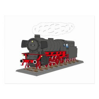 Steam engine postcard