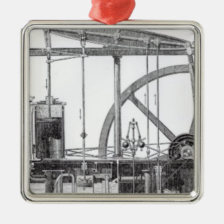 Steam Engine Silver-Colored Square Decoration