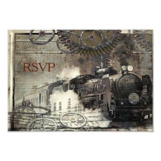 Steam Engine Steampunk RSVP 9 Cm X 13 Cm Invitation Card