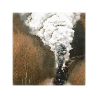 Steam Engine Train Barreling down the Tracks Gallery Wrapped Canvas