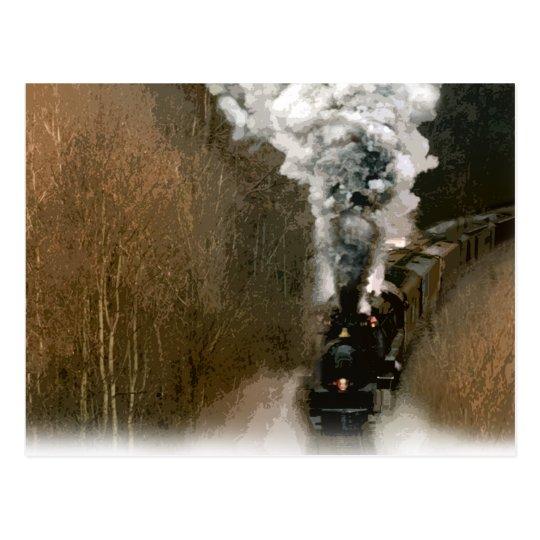 Steam Engine Train Barrelling down the Tracks Postcard
