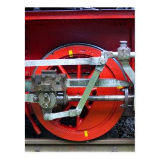 Steam engine wheel postcard