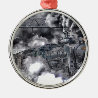 Steam Engines Trains HDR Photo Silver-Colored Round Decoration