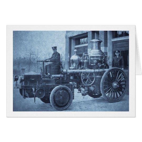 Steam Fire Engine Pumper Truck Card