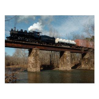 Steam Freight On Trestle Postcard