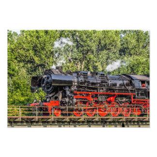 Steam LOCK in full swing over a bridge Photographic Print