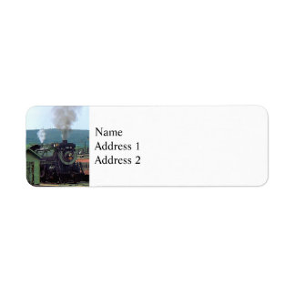 Steam Locomotive Coming into Train Yard Return Address Label