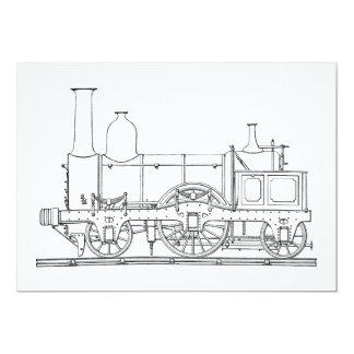 Steam Locomotive Engine 13 Cm X 18 Cm Invitation Card