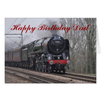 Steam Locomotive Happy Birthday Card for Dad