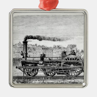 Steam locomotive Silver-Colored square decoration