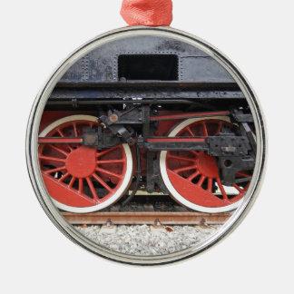 Steam locomotive train wheel christmas ornament