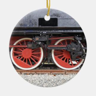 Steam locomotive train wheel round ceramic decoration