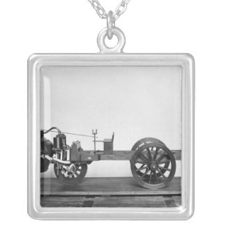 Steam-powered car invented silver plated necklace