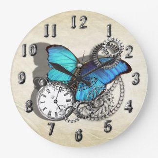 Steam Punk Blue Butterfly Pocket Watch Design Large Clock