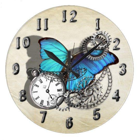 Steam Punk Blue Butterfly Pocket Watch Design Wall