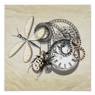 Steam Punk Dragonfly, Beetle. Pocket Watch Silver Poster