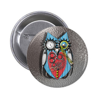 Steam Punk Funny Mechanical Owl Red Blue Button
