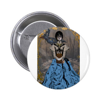 Steam Punk Girl with Mechanical Raven 6 Cm Round Badge