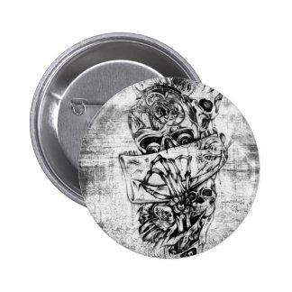 Steam Punk hand illustrated skulls on grunge base 6 Cm Round Badge
