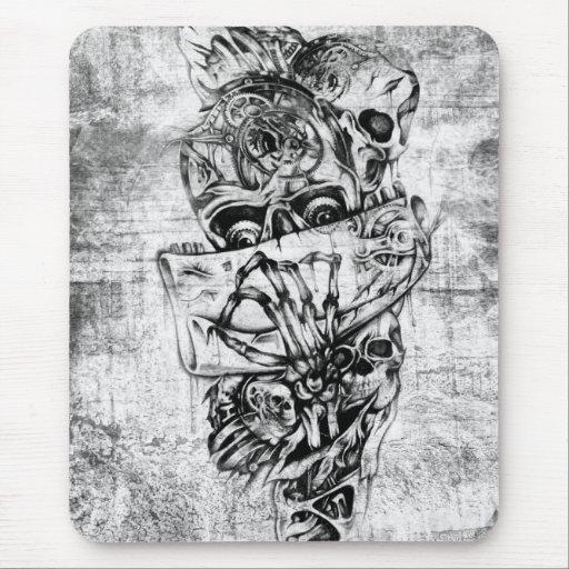 Steam Punk hand illustrated skulls on grunge base Mouse Pads