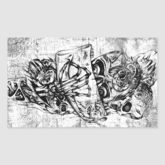 Steam Punk hand illustrated skulls on grunge base Rectangle Sticker