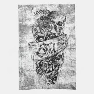 Steam Punk hand illustrated skulls on grunge base Tea Towel