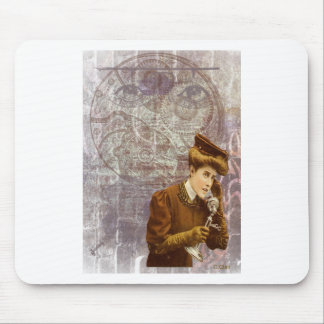 Steam Punk Lady Telephone Gears Victorian Mouse Pad