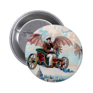 Steam punk-- Man in flying machine  button
