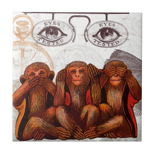 Steam Punk Monkey See Monkey Do Small Square Tile
