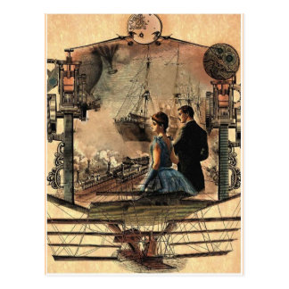 Steam punk, vintage style art postcard