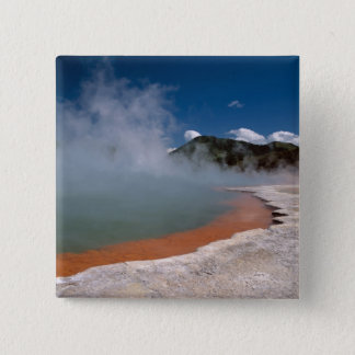 Steam rising from Champagne Pool at WAI-O-TAPU 15 Cm Square Badge