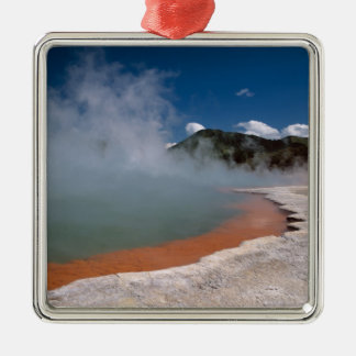 Steam rising from Champagne Pool at WAI-O-TAPU Silver-Colored Square Decoration