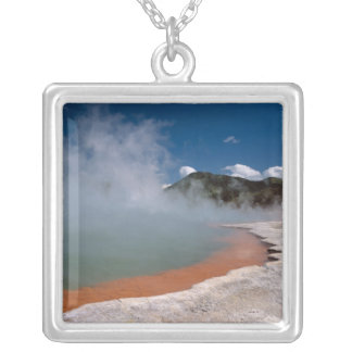 Steam rising from Champagne Pool at WAI-O-TAPU Silver Plated Necklace