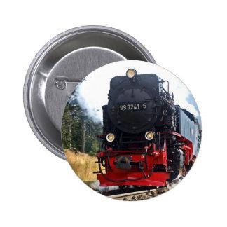Steam train 6 cm round badge