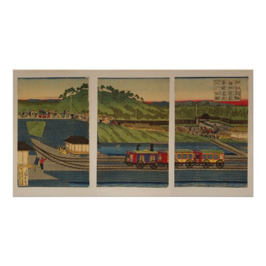Steam train at Takanawa seashore, Tokyo Poster