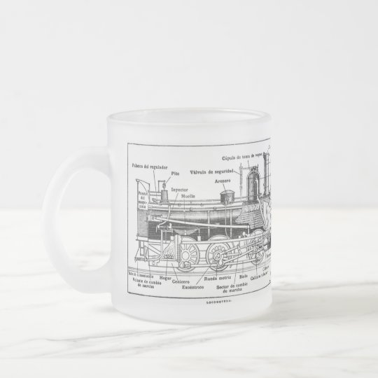 Steam Train Engine Diagram Frosted Glass Coffee Mug