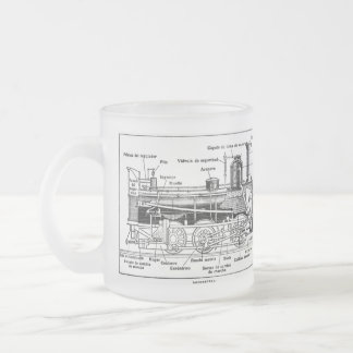 Steam Train Engine Diagram Frosted Glass Mug