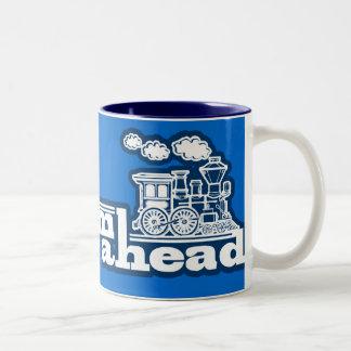 Steam train full steam ahead blue logo mug