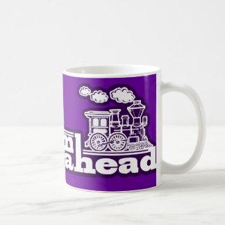 Steam train full steam ahead purple logo mug