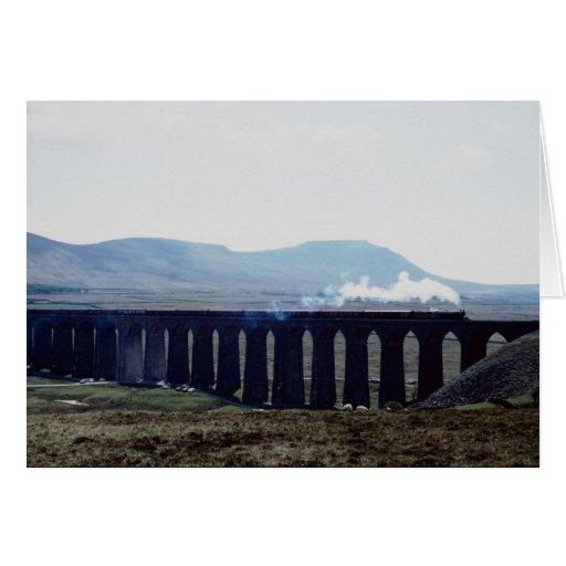"Steam train ""Green Arrow"" on Ribblehead Viaduct, E Greeting Card"
