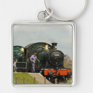Steam Train key ring Silver-Colored Square Key Ring