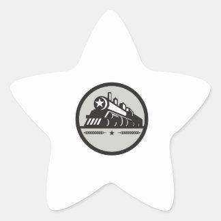 Steam Train Locomotive Star Circle Retro Star Sticker